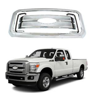 Front Mesh Grille Cover For 2011 2016 Ford F250 350 450 Super Duty Grills Chrome