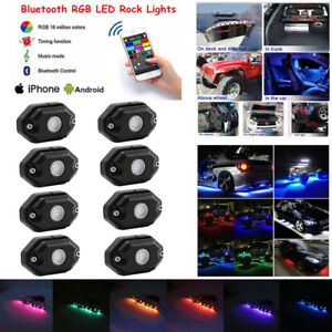 8pcs Rgb Led Rock Lights Wireless Bluetooth Music Multi color Offroad Truck Boat