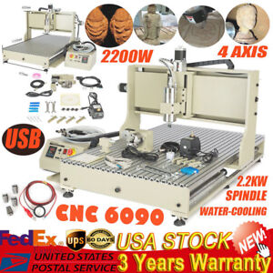 Usb 4 Axis Cnc 6090 Router Engraver Machine 2200w Vfd With Water Cooling Spindle