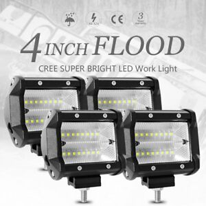 4pcs 48w 4 Inch Work Lights Cree Flood Led Light Bar Reverse 4wd 12v 24v