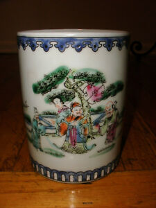 Antique Chinese Porcelain Decorated Famille Brush Pot Signed