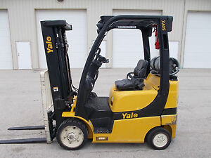 2012 Yale Glc050vx 5000lb Forklift Lpg 3 Stage Mast Lift Truck Tow Hilo Fork