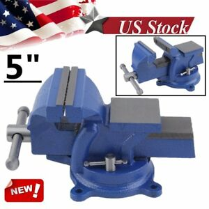 5 Bench Vise With Anvil Swivel Locking Base Table Top Clamp Heavy Duty Steel Sk