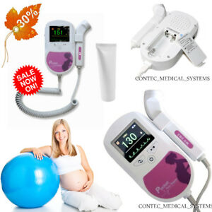 Fda ce Contec Prenatal Fetal Doppler Baby Heart Monitor 3mhz Probe gel color Lcd
