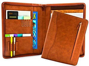 Pu Leather Padfolio Business Portfolio Document Organizer Holder Binder Case New