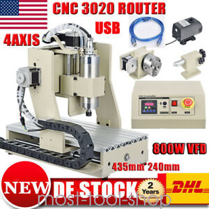 Usb Cnc 3020 Router 4axis Engraver Machine Engraving Carving 800w 3d Woodworking
