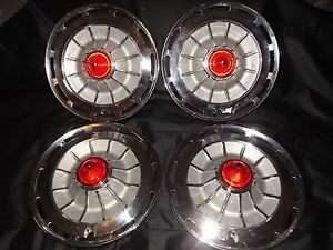 Chevy 62supersport 14 Hubcap Set 4 Red Reflctors Yellow Bullet Lens No Spinnr