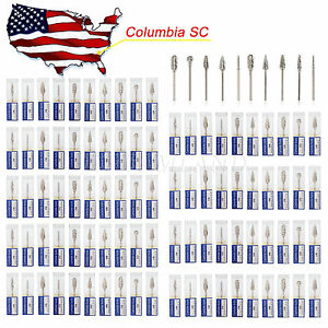 100 Dental Tungsten Carbide Drills Burs Fit Lab Polishing Marathon 2 35mm Hp Tip
