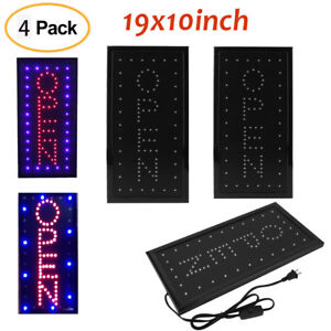4pcs Bright Led Neon Light 19x10 animated Motion Open Business Sign W On off Sk