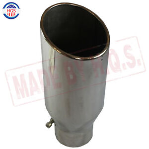 Chrome Stainless Steel Rolled End Diesel Exhaust Tip 4 Inlet 6 Outlet 15 Long