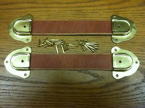 Antique Trunk Hardware Two Leather Handles 4 Metal Ends Fasteners N