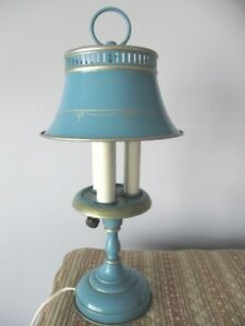 Antique Shabby Country Chic Blue Original Tole Bedroom Reading Desk Table Lamp