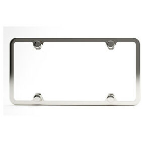 100 Stainless Steel 4holes Slim Cover Universal W Caps License Plate Frame