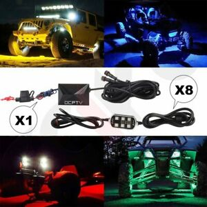 8 Pods Rgb Led Rock Lights Kit For Jeep Off Road Truck Boat Accessories Ocpty