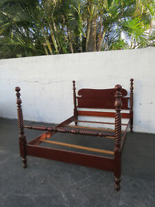 Early 1900s Solid Cherry Spindle Full Size Poster Bed 8855