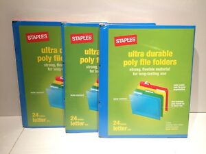 3 Packs Of 24 New Staples Letter Size Poly File Folders 439328 72 Count Total
