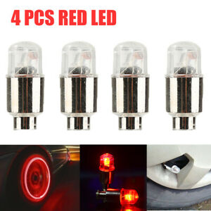 4pcs Red Led Autos Suv Wheel Tyre Tire Air Valve Stem Caps Decoration Light Lamp