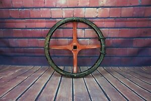 Vintage Wooden 18 Steering Wheel Fire Truck Tractor Square Shaft Wood Red Black