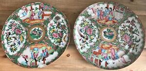 Antique Chinese Rose Medallion Export Large Dinner Plates 10