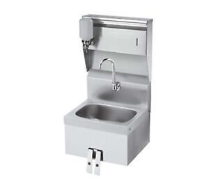 Krowne Hs 16 16 Wide Hand Sink With Knee Valve And Soap Towel Dispenser