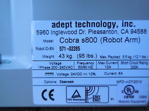 Adept Technology Inc S800 Cobra Scara Robot With Warranty
