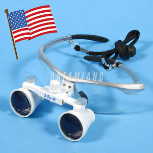 Silver Dental Surgical Binocular Magnifier Loupes Glasses 3 5x r Wide Deep View