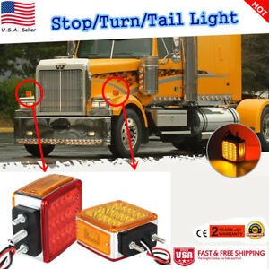 Pair 39leds Double Side Turn Signal Amber Red Truck Fender Light With Rubber Pad