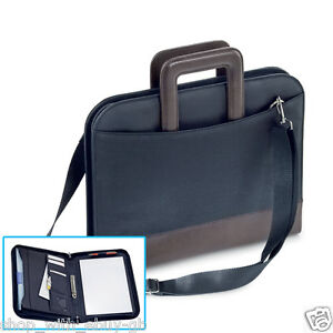 A4 Zipped 2 Ring Binder Conference Folder Document Bag Faux Leather Black