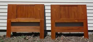 Vintage Pair Danish Modern Teak Grass Cloth Double Sided Twin Bed Headboards