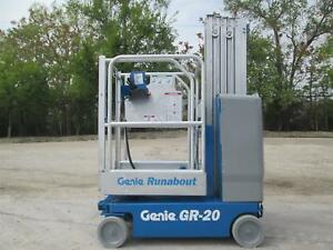 2011 Genie Gr 20 2wd Personal Runabout Manlift Boom Vertical Work Platform Lift