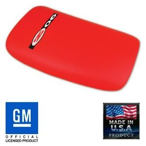 C5 Corvette Console Lid Pad Torch Red Leather Black Zo6 Embroidered Emblem Z06