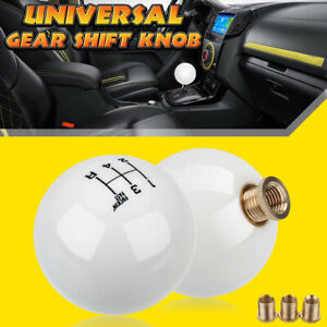 Universal 5 Speed Round Ball Gear Shift Knob Short Shifter Lever M10x1 5 White