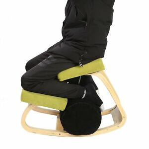 Wooden Ergonomic Kneeling Chair In Fabirc And Natural Wood Frame Green