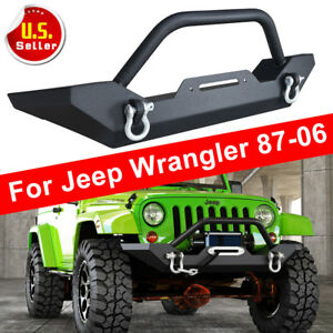Textured Black Front Bumper W Winch Plate D Rings Fit 87 06 Jeep Wrangler Tj Yj