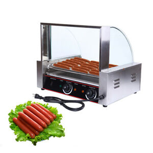 Commercial 24 Hot Dog 9 Roller Grill Cooker Machine W Cover Ce 1260w Ridgeyard