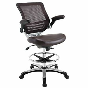 Modway Edge Drafting Chair In Brown Vinyl Reception Desk Chair Tall Office C