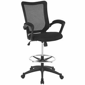 Modway Project Drafting Chair In Black Reception Desk Chair Tall Office Chai
