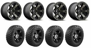 Set Of 4 Nitto 205 790 Tires Fuel D56420007347 Matte Black Machined Wheels