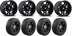 Set Of 4 Nitto 374 000 Tires Centerline 839b 2128744 20x12 Black Wheels