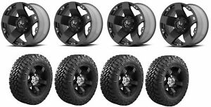 Set Of 4 Nitto 205 590 Tires Kmc Xd77528580310 Matte Black Wheels