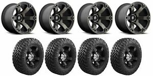 Set Of 4 Nitto 374 000 Tires Fuel D56420007347 Matte Black Machined Wheels