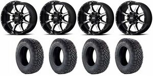 Set Of 4 Nitto 217 330 Tires Moto Metal Mo97029067300 Gloss Black Wheels