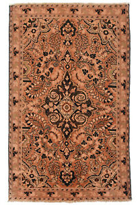 Vintage Persian Malayer Design Rug 4 X7 Coral Coral All Wool Pile