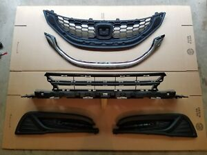 5pc Set 2013 2015 Civic 4dr 1 8l Upper Lower Grille W Chrome Fog Light New