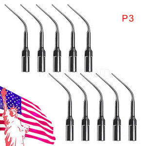 10x Dentist Dental Ultrasonic Piezo Perio Scaling Tip P3 For Ems Woodpecker Hlsc