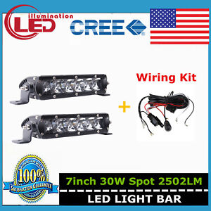2x 7inch 30w Cree Led Single Row Light Bar Slim Spot Offroad 4wd Ford Wiring Kit