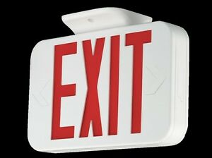 Led Exit Light Sign W Battery Backup Thermoplastic Housing Ceiling Wall Mount