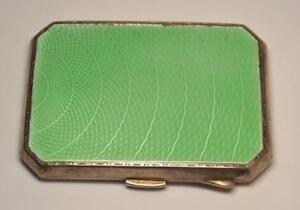 Vintage Silver And Enamel Cigarette Case Ladies Compact