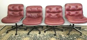Burgundy Vintge Mid Century Charles Pollock Knoll Leather Executive Office Chair