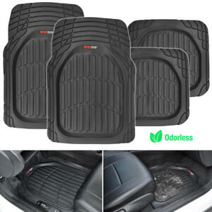 Heavy Duty Deep Dish Dirt Trapping All Season Car Rubber Floor Mats Black